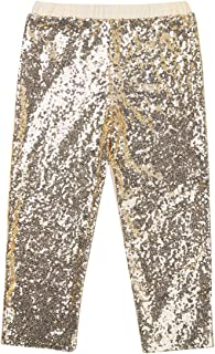 TiaoBug Girls Boys Bling Sequins Jazz Dance Pants Sparkles Legging Birthday Party Dancing Show Stage Performance Trousers