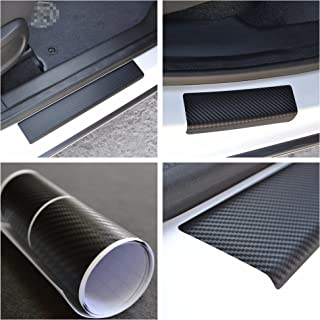 Door Sill Protector Film fit Porsche Cayenne 2010-2015 Black Carbon Fiber Texture Decals Vinyl Wrap Scuff Protection Entry Guard 4 pcs Kit