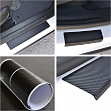 Door Sill Protector Film fit Dacia Duster 2010- Renault Black Carbon Fiber Texture Decals Vinyl Wrap Scuff Protection Entry Guard 4 pcs Kit