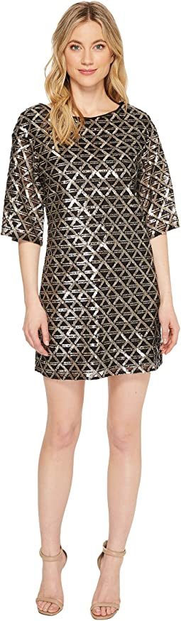 Laundry by Shelli Segal - Sequin Mesh Diamond Grid Shift Cocktail Dress