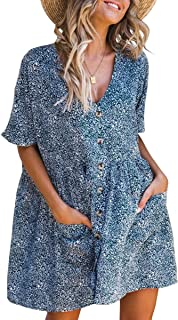 ECOWISH Women's V Neck Button Down Leopard Floral Dress Short Sleeves Loose Top Dresses with Pockets