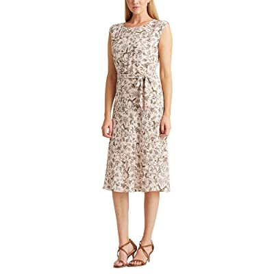 LAUREN Ralph Lauren Petite Floral Georgette Dress (Pink Multi) Women