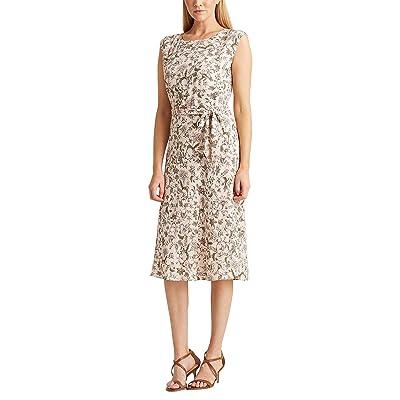 LAUREN Ralph Lauren Petite Floral Georgette Dress (Pink Multi) Women