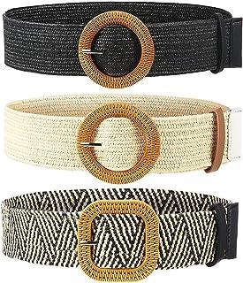Richaa Cinturón Elástico Tejido de Paja para Mujer, 3 Piezas Cinturón de Cintura Tejido de Paja para Mujer Cinturón de Cin...
