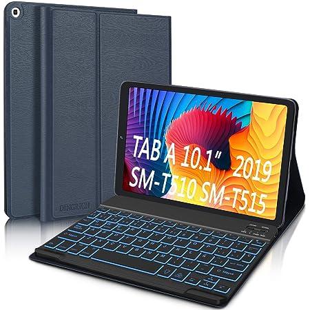 Funda con Teclado para Samsung Galaxy Tab A 10.1 2019 (Español Ñ), DINGRICH Bluetooth Teclado 7 Color Retroiluminación Inalámbrico Extraíble Magnético ...