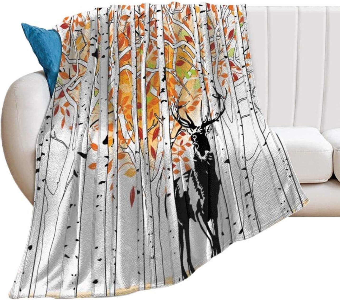 VinMea Flannel Bed Blanket Deer in 商い Forest Autumn 予約 Trees Colors So