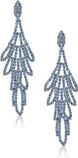 Women's Rhinestone Chandelier Drop Earrings Sapphire
