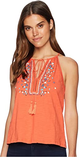 Miss Me Halter Floral Embroidered Top