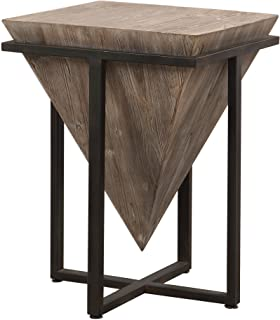 My Swanky Home Modern Rustic Industrial Pyramid End Table | Geometric Iron Wood Block Accent