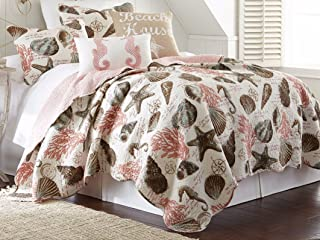 James Home Tropical Ocean Retreat Coastal Beach Starfish Seashell Coral 3pc Full/Queen Size Quilt Set