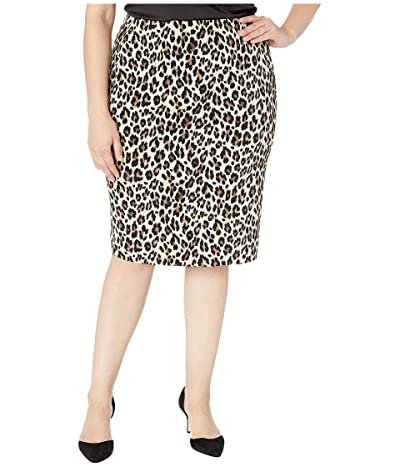 Vince Camuto Specialty Size Plus Size Elegant Leopard Midi Tube Skirt (Rich Black) Women