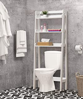White Finish 3-Tier Leaning Shelf Bathroom Organizer Over The Toilet, Bathroom Spacesaver Rack