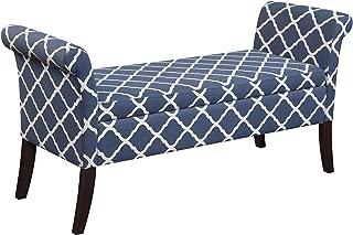 Convenience Concepts Designs4Comfort Garbo Storage Bench, Moroccan Blue Fabric