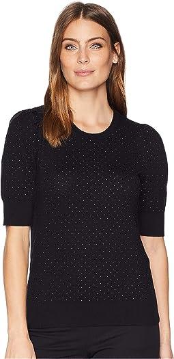Short Sleeve Puffed Sleeve Jacquard Sweater
