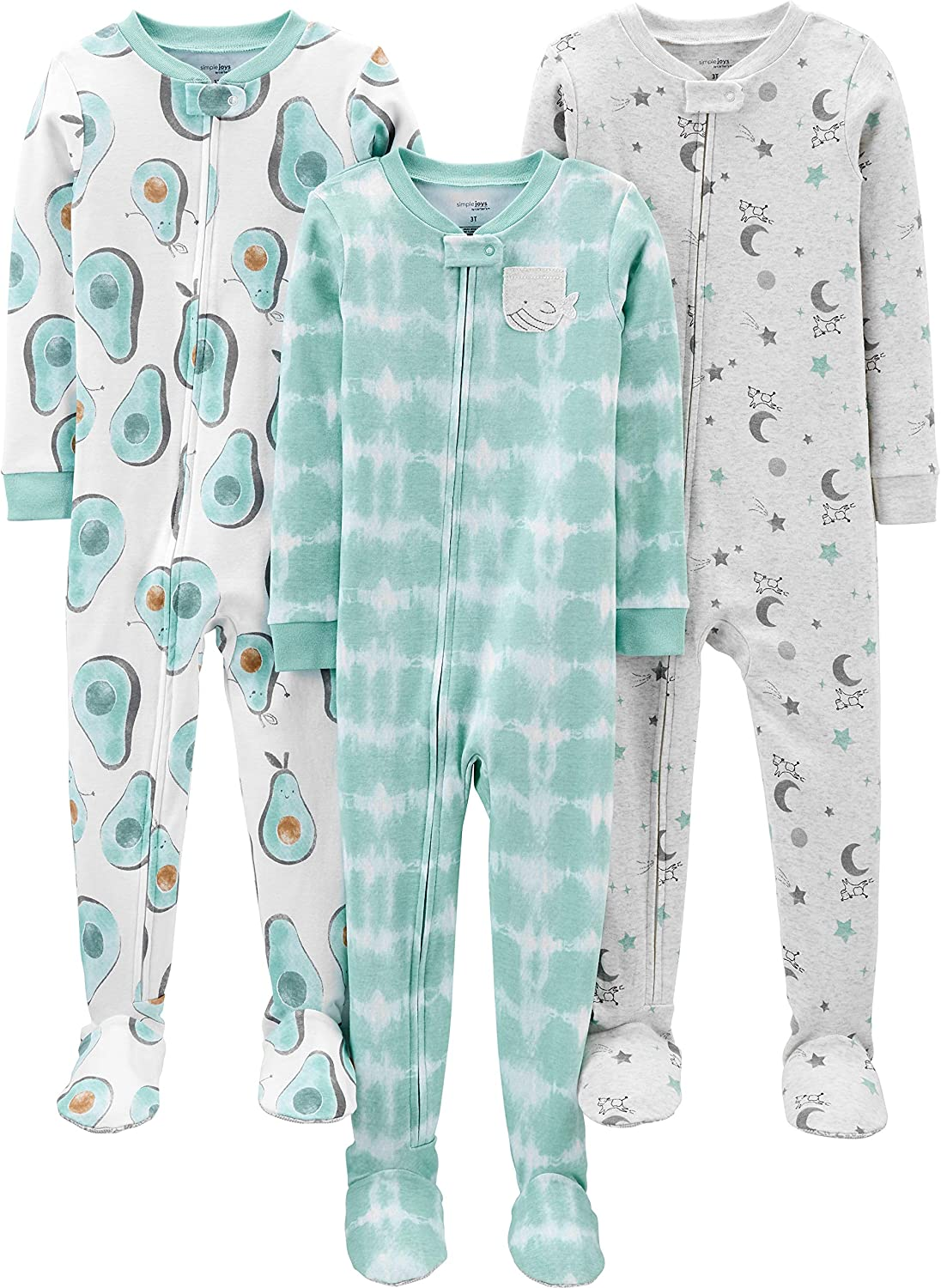 Simple Joys by Carter's Boys' 3-Pack Snug Fit Footed Cotton Pajamas