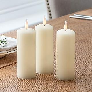Lights4fun - TruGlow® Juego de 3 Velas Pillar LED a Pilas en Cera Blanca con Mecha y Llama Realista™