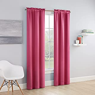 """ECLIPSE Tricia Modern Room Darkening Thermal Rod Pocket Window Curtains for Bedroom (2 Panels), 52"""" x 63"""", Pink"""