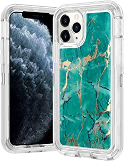 Wollony for iPhone 11 Pro Max Case Marble Gold Glitter Girly Sparkle 3 in 1 Heavy Duty Hybrid Impact Resistant Shockproof Hard Bumper Soft Rubber Protective Cover for iPhone 11 Pro Max 6.5inch Teal