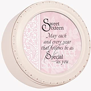 Cottage Garden Sweet Sixteen May Every Year be Special Ivory Rope Trim Petite Round Jewelry and Keepsake Box