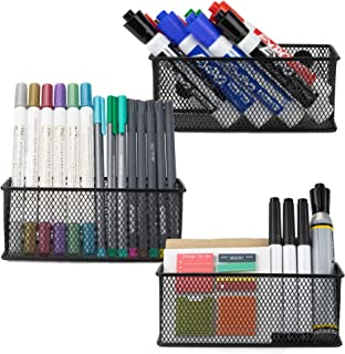 Workablez Magnetic Locker Organizer Set of 3 - Mesh Pencil Holder Baskets with Extra Strong Magnets - Perfect Marker and Pen Storage Holds Securely Your Whiteboard and Locker Accessories