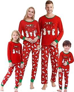 Christmas Pajamas for Family Cute Snowman Print Long Sleeve PJS Set