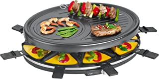 Clatronic RG 3517 Raclette Grill para 8 Personas, 1400 W, Acero Inoxidable, Negro