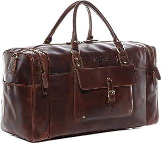 SID & VAIN Weekender echt Leder Yale groß Sporttasche Reisetasche Ledertasche Herren 53 cm braun