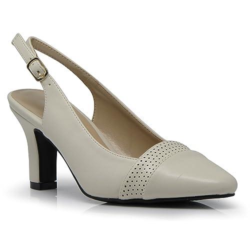 4fad1233583 Enzo Romeo KDA01 Women s Wide Width Sling Back Low Heeled Pointy Pumps  Sandals Shoes