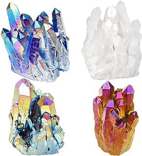Jovivi Irregular Natural Titanium Coated Crystal Quartz Cluster Drusy Geode Specimen Decor- 0.28lb to 0.35lb
