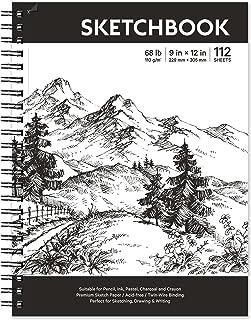 "Sketch Book - Hardcover Sketch Pad, 9"" x 12"", 112-Sheet, 68 lb/110 GSM, Durable Sketchbook Use with Pens, Pencils, Sketchi..."