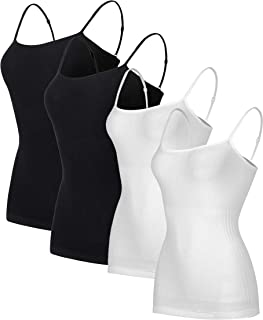 1-4 Packs Women Seamless Camisoles Tank Top Basic Casual Soild Color Silmming Vest Underwear.JNINTH