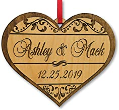 Custom-Engraved-Glasses-by-StockingFactory Personalized Heart Love Christmas Ornament Gfit for Anniversary, Valentines Day, Christmas, Pet, Engagement, Babys First, Couples Mom Dad, Fiance, Wedding