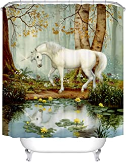 BROSHAN Mystic House Décor Shower Curtain, Country Vintage White Horse by Lake Forest Trees Lotus Flower Nature Scene Bathroom Décor Fantasy Fabric Bath Shower Curtain, 72 inch Long