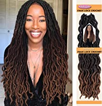 Karida Goddess Locs Crochet Hair 18 inch 6 packs/lot Gypsy Crochet Locs 3 Tone Ombre Curly Wave Faux Locs Crochet Twist Braiding Hair Extensions Braids Dreadlocks 24Roots/PCS (18inch, 1B/4/30)