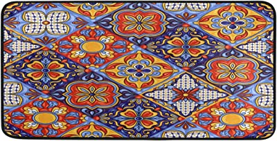 WELLDAY 39x20 Inch Area Rug Talavera Ceramic Tile Pattern Door Mat Washable Non-Slip Throw Floor Carpet