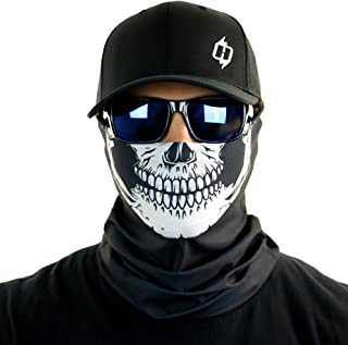 Skull Tubular Bandana with Skeleton Design Works in Hot and Cold Black