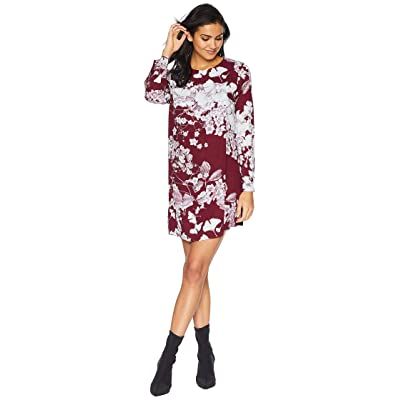 BCBGMAXAZRIA Ashton Long Sleeve Asymmetric Dress (Deep Port Combo) Women