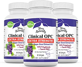 Terry Naturally Clinical OPC Extra Strength (3 Pack) - 400 mg French Grape Seed Extract, 60 Softgels - Supports Heart & Immune Health, Antioxidant - Non-GMO, Gluten-Free, Kosher - 180 Total Servings