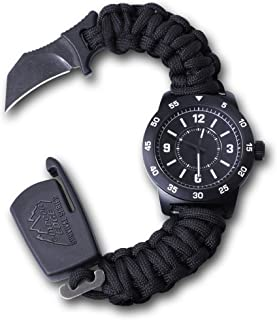 OUTDOOR EDGE Zinc ParaClaw CQD Survival Watch with Heavy Duty Paracord Bracelet, 1.5 Inch Knife Blade