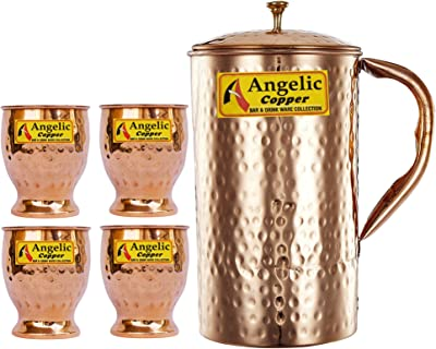 Angelic Copper Hammered Water Jug with Glasses Set, Set of 4, Brown