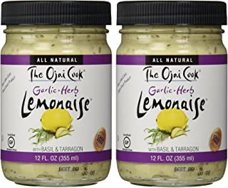 The Ojai Cook Garlic Herb Lemonaise - Organic Mayonnaise Aioli Made With Cage-Free Eggs, Basil and Tarragon - 12 fl oz (Pack of 2)