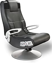 Ace Bayou X Rocker SE 2.1 Black Leather Video Gaming Chair for Adult, Teen, and Kid Gamers with Pedestal Base, Armrest, and Headrest - High Tech Audio and Wireless Capacity - Ergonomic Back Support