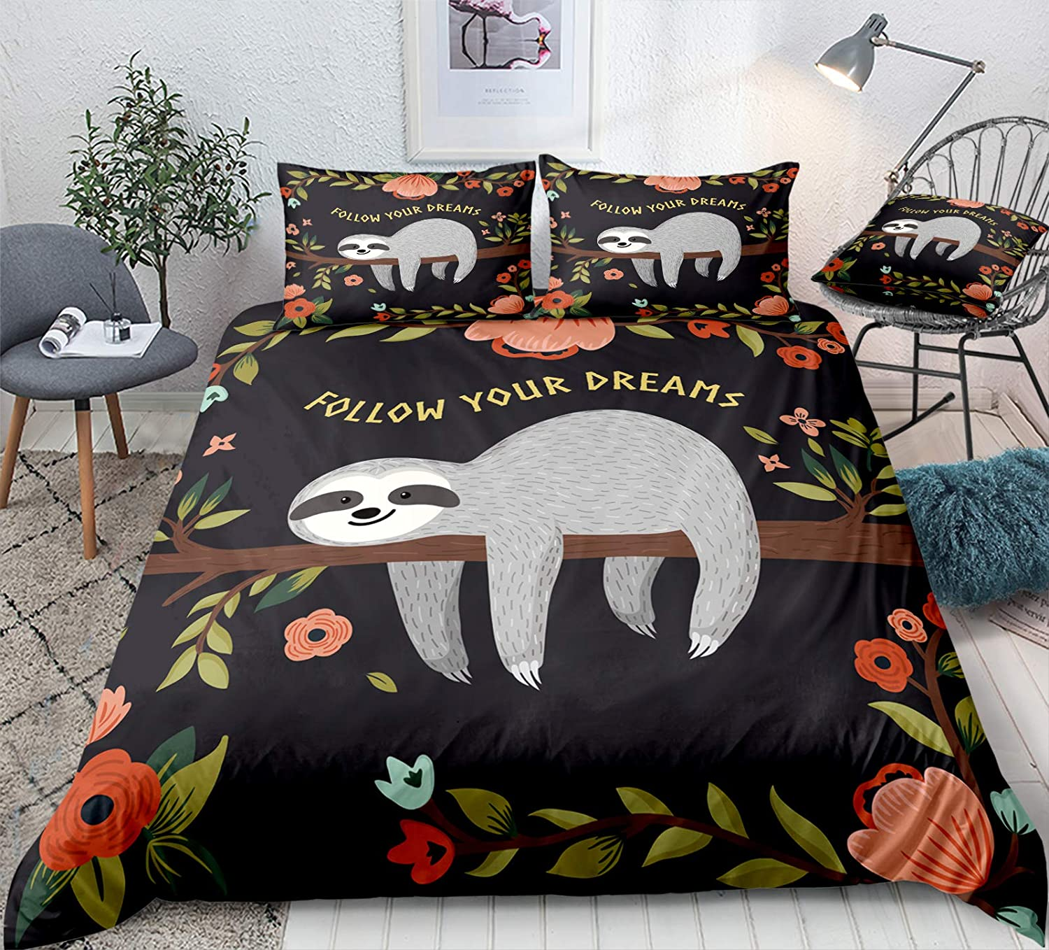 Floral Sloth Bedding Cartoon Flowers New Tampa Mall Shipping Free Set Duvet Cover