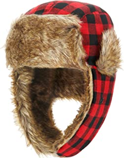 2 Pack Winter Trooper Hat Plaid Trapper Hat Hunting Hat for Men and Women Skiing