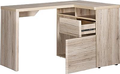 Movian Olton - Bureau d'angle avec rangements, 112x90x76cm, Finition chêne