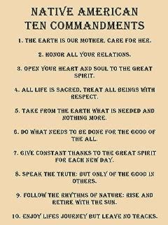 Native American 10 Commandments Poster Native American Poster 18x24