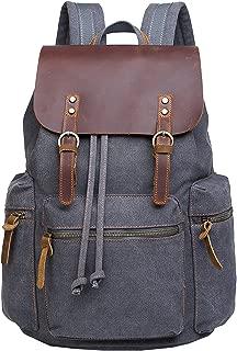 Berchirly Men Real Leather Flapcover Laptop Backpack Travel Casual Canvas Bookbag School Bag Rucksack Satchel Grey