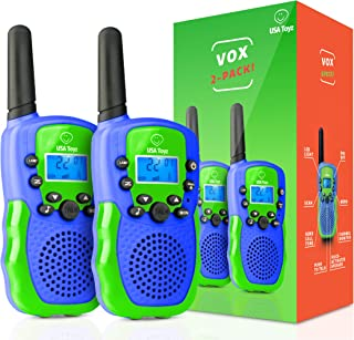 USA Toyz Vox Box Walkie Talkies for Kids - Voice Activated Walkie Talkies for Boys and Girls, with Over 2 Mile Range (Blue and Green)