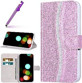 Urhause Kompatibel med Xiaomi Redmi Note 8 PU läderväska plånbok skyddsfodral flip-fodral glitter plätering mönster mobilt...