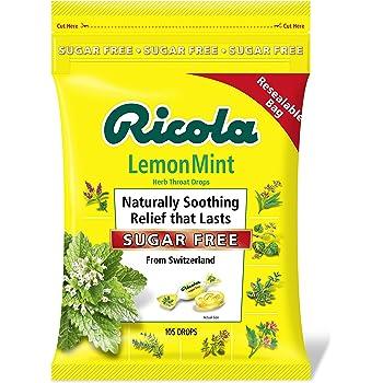 Ricola Lemon Mint Sugar Free Throat Drops, 105ct Bag